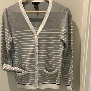 Button down striped sweater size M